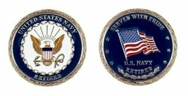 """NAVY RETIRED SERVED WITH PRIDE  1.75"""" CHALLENGE COIN - $17.09"""