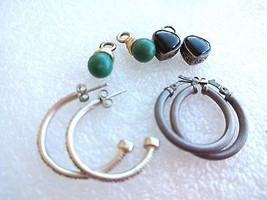 2 VINTAGE STERLING 900 ? SILVER HOOP EARRINGS + 2 ONYX HEART GREEN ONYX ... - $41.57