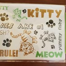 """Cat Food Mat, Litter Box Mat, Pet Mat, Plastic, 20""""x12"""", Meow Kitty image 3"""