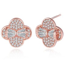 Rose Gold Plated Cubic Zirconia Paved Flower Stud Earrings For Women - $34.45