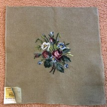 Vintage Paragon PREWORKED Needlepoint Tapestry Canvas Embroidered Flower... - $24.99