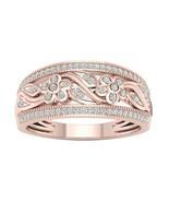 IGI Certified 10k Rose Gold 0.25Ct TDW Flower and Leaf Fashion Ring - £122.99 GBP