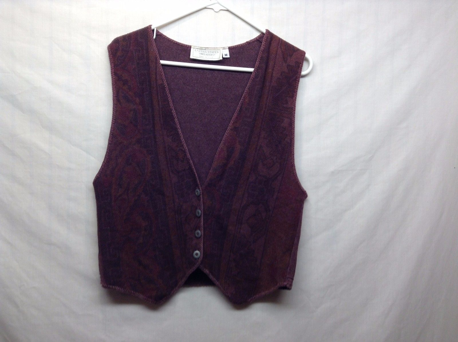 United States Sweaters Purple Patterned Button Up Vest Sz M