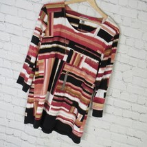 JM Collection Shirt Top Womens Medium M White Pink Layered Look MRSP - $44.69
