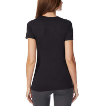 32 Degrees Women's 2Pk Short Sleeve Scoop Neck T-Shirt Orchid/Black Size: Small image 3