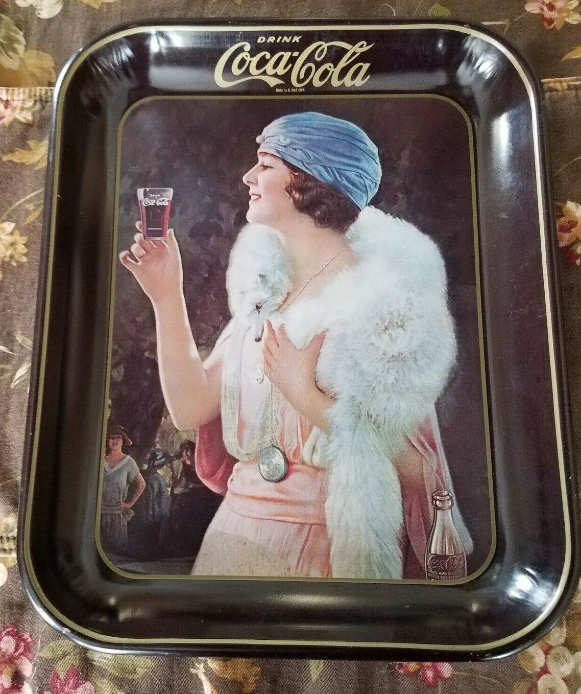 Vintage Coca Cola 'Party Girl' Flapper Lithograph Metal Tray, Great Bar Decor