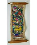 """Vintage Animal Hide Painted Scroll Art Work Mid Eastern 21""""x7.5"""" - $79.19"""