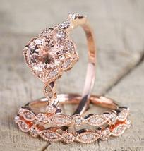 1.85Ct AAA Morganite 3Pcs Bridal Engagement Ring Set 14K Rose Gold Over Silver - $116.79