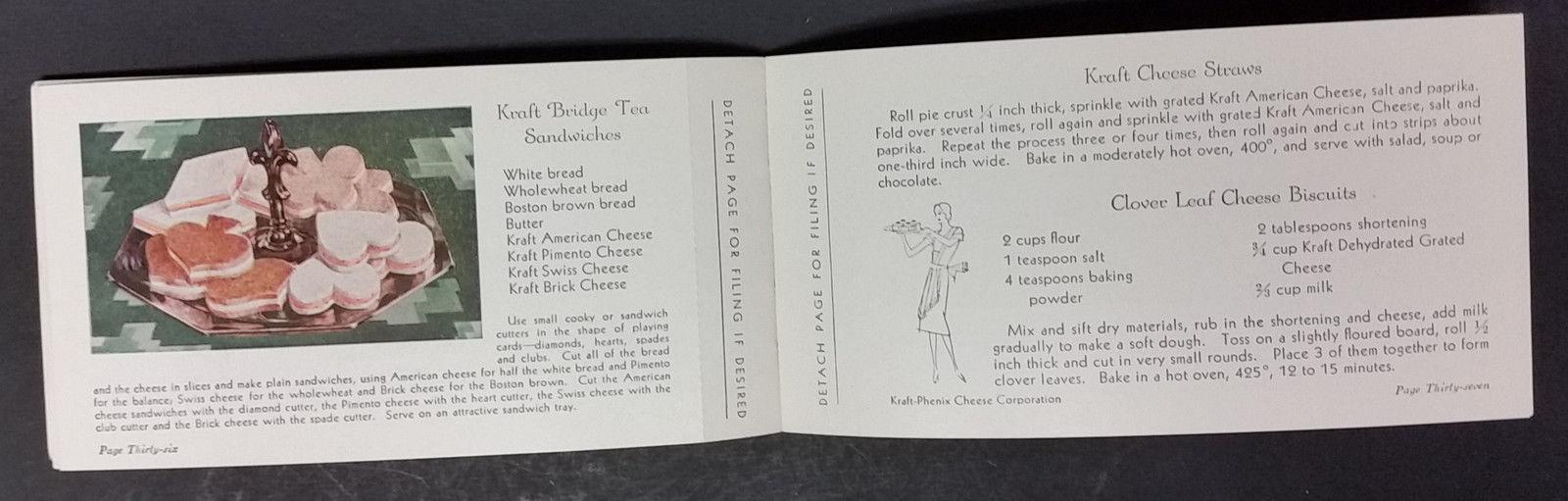 Kraft Phenix Cheese And Ways To Serve It 1933 Food Cookbook Ad Litho Dairy Menus