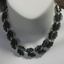 Signed Lisner Silver-tone Blackish-Blue Moon-glow Molded Leaves Link Necklace - $74.25