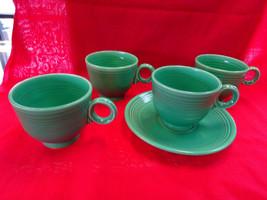 VINTAGE HLC Fiesta Green Tea/Coffee CUP Lot, 4 Coffee Cups, 1 Saucer, Fiestaware - $49.95