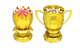 Sport Ball Gold Trophy & Gold Lotus Flower Music Happy Birthday EXCITING... - $14.99