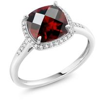 2.40 Ct Cushion Checkerboard Red Garnet 10K White Gold Engagement Ring w... - $316.79