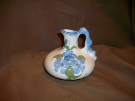 CASH FAMILY HAND PAINTED PITCHER BLUE FLOWERS - $14.84