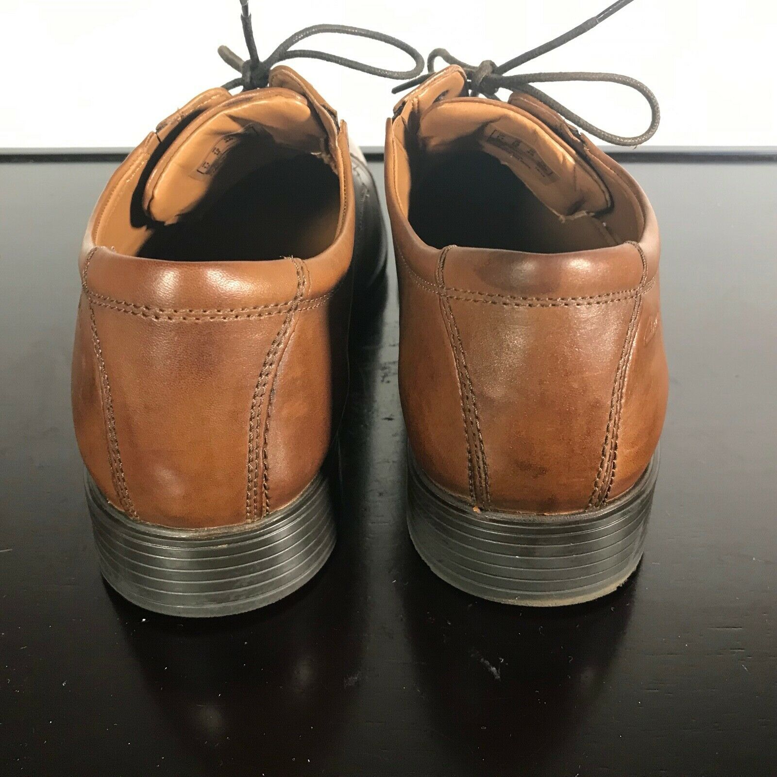 Clarks Sz 12 M Collection Men's OrthoLite Brown Soft Cushion Cap-Toe Dress Shoes