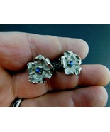 Vintage Clip on Earrings Silver Tone Blue Rhinestone Flowers Mid Century... - $19.59