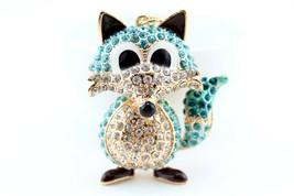 Blue Fox Fashion Keychain Rhinestone Crystal Charm Cute #MCK11 - $18.17