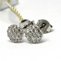 White Gold Earrings 750 18k, 0.39 Carat Diamonds, Button, Round, sett image 2