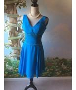 Handmade Women's Chiffon Blue Dress  Bust Size 84cm Waist 65cm NWT - $38.61