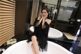 PF241 sweet off-should blouse, mini dress, gauze & cotton,free size, black - $18.80