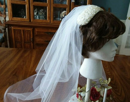 Vintage White Single Layer & Blusher Wedding Veil With Sequin Head Piece  NEW - $24.99
