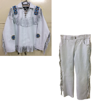 Men's New Native American Buckskin White Leather Beads Hippie Shirt & Pa... - $206.10