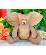 Wooden Angel Teddy Bear Wings Jointed Movable Arms Legs Carved Wood - $17.95