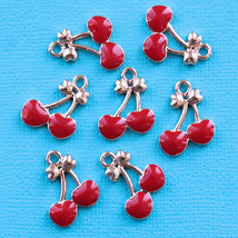 Brand New 5 Cherry Charms Gold Plated Enamel With Colorful Enamel - $6.05