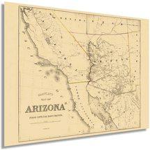 1865 Arizona Map Poster - Vintage Arizona Map - Old Map of Arizona Wall Art - Hi - $34.99+