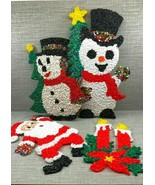 Melted Plastic Popcorn Christmas Wall Window Decorations Lot of 4 Vintage - $39.59