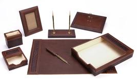 Majestic Goods 8 Piece Brown PU Leather Desk Set - €108,26 EUR