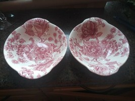 """(8) Johnson Brothers China English Chippendale Red/Pink Lug Cereal Bowl - 7-1/8"""" - $84.10"""