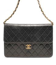 Auth CHANEL Classic Flap Shoulder Bag Black Matelasse Vintage Logo Chain B4780 - $2,633.41