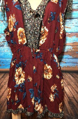 Xhilaration Womens XXL Maroon Floral Romper 2XL Shorts Sleeveless
