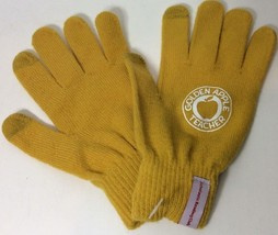 Golden Apple Teacher Gloves Scholastic Reading Club Gift Mustard Gold Knit - $10.45 CAD