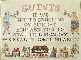 Guests Sampler Stamped Embroidery Kit 220 Needles N Hoops Drinking Dont ... - $18.99