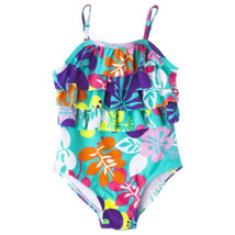 Circo Toddler Girls One Piece Floral Swimsuit w/ Ruffle Front Sz 12M 18M... - $12.34