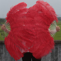 A Pair of Single Layer Red Large Ostrich Feather Fan Burlesque friend 24... - $138.99