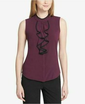 Calvin Klein Women's Petite Piped Ruffle Front Top, Aubergine/Black PXL - $34.99