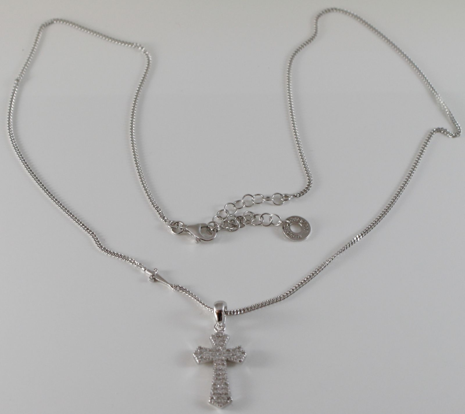 NECKLACE CESARE PACIOTTI 925 SILVER WITH CROSS WITH CUBIC ZIRCON JPCL1342B