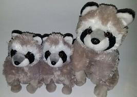 3 Wild Republic Raccoons Plush Lot Stuffed Animal Toys Gray Black - $29.65