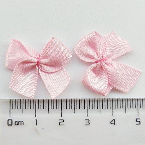 "Chenkou Craft 60pcs Mini Satin Ribbon Bows Flowers 1"" x3/4"" Appliques DIY Craft"