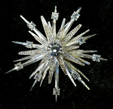 Art Deco Atomic Style Starburst Silvertone & Rhinestone Brooch Marked AV... - $37.99