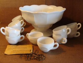 Thatcher McKee Milk Glass Punch Bowl Set Colonial Early American