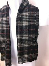 Vintage 100% Imported AUSTRALIAN WOOL Scarf Black Gray Red Plaid Made in... - $29.70
