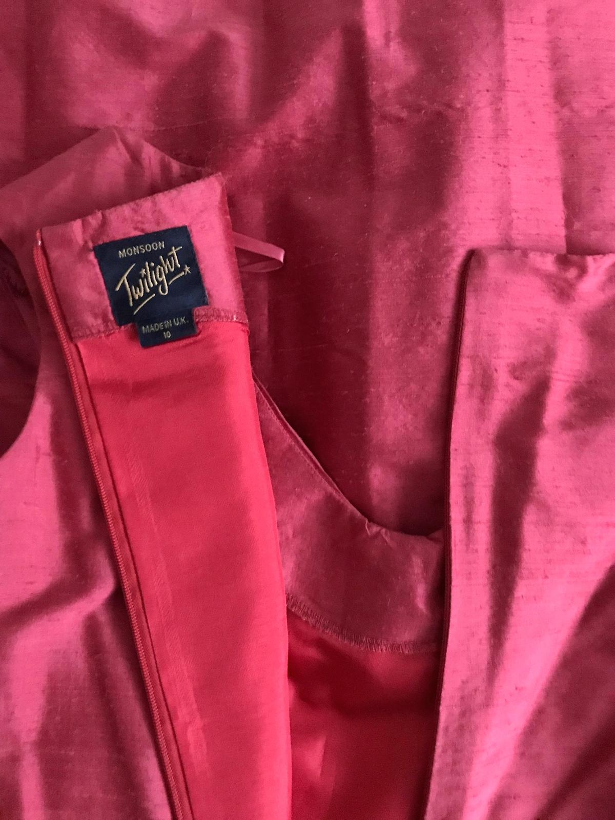 80s does 50s Vtg 100% Silk Monsoon Twilight Coral Red Full Skirt Swing Dress