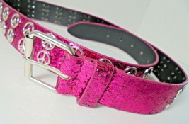 Womens bright pink fuschia sparkly belt silver Peace Sign Buckle size Large - $15.42