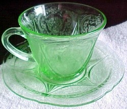 Royal lace Green Depression Glass CUP & Saucer - $7.19