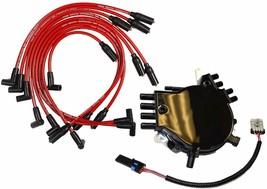 Optispark Spline Drive Distributor w/ Spark Plug Wires for Chevy Chevrolet GMC