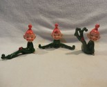 Vintage Norcrest Japan Ceramic Christmas Pixie Elves with Ladybug Set of 3